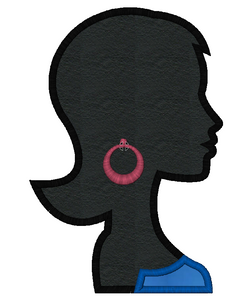 Girl with Earrings Embroidery Applique and Fill Design - IC1derful Designs