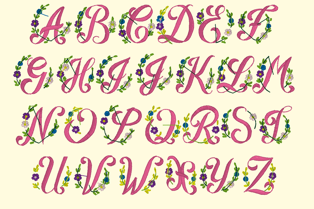 BX Fonts Embrilliance for Machine Embroidery Design FLEURS 1.5 Inch - IC1derful Designs