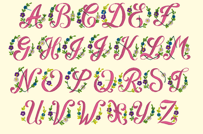 BX Fonts Embrilliance for Machine Embroidery Design FLOWERS ABC 1.5 Inch - IC1derful Designs