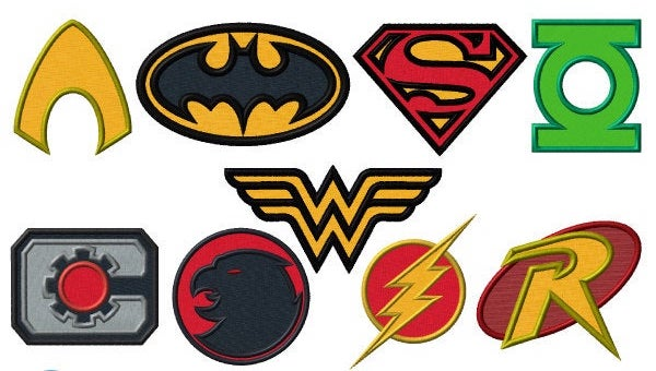 Super Hero DC Comics Justice League Combo Embroidery Applique Designs - IC1derful Designs