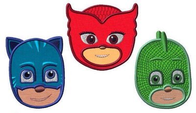 PJ Mask Catboy Owlette Gekko Combo Embroidery Applique Design - IC1derful Designs