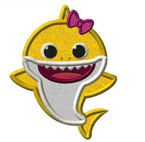 Baby Shark Girl Embroidery Applique Design - IC1derful Designs