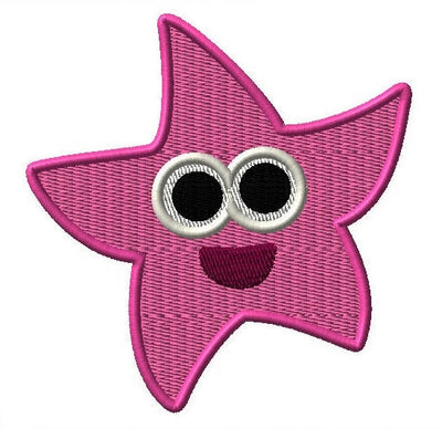Baby Shark Starfish Embroidery Applique Design - IC1derful Designs