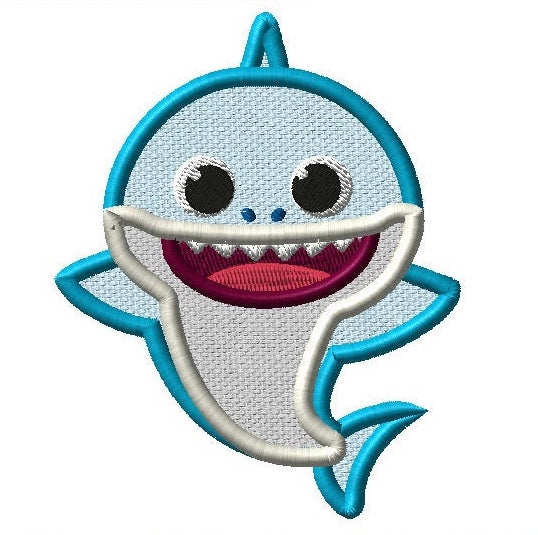 Baby Shark Embroidery Applique Design - IC1derful Designs