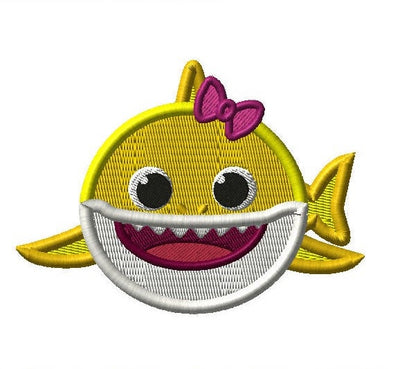 Baby Shark Girl Front Embroidery Applique Design - IC1derful Designs