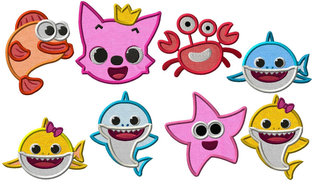 Baby Shark Combo Embroidery Applique Design - IC1derful Designs