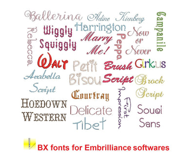 Most Popular BX embroidery fonts Sizes 1, 1.5 and 2 inches, instant download