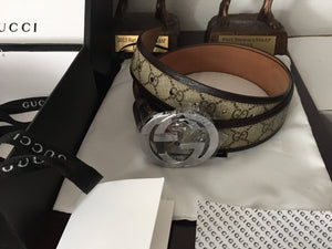ee821973a Gucci Belt (Size 34-42) (Classic Cocoa Brown leather w Silver buckle ...