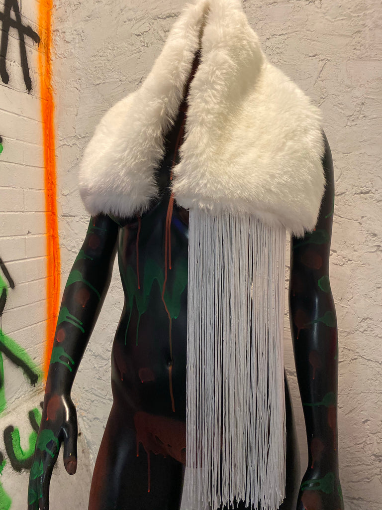 VINTAGE FUR SHAWL WITH FRINGE