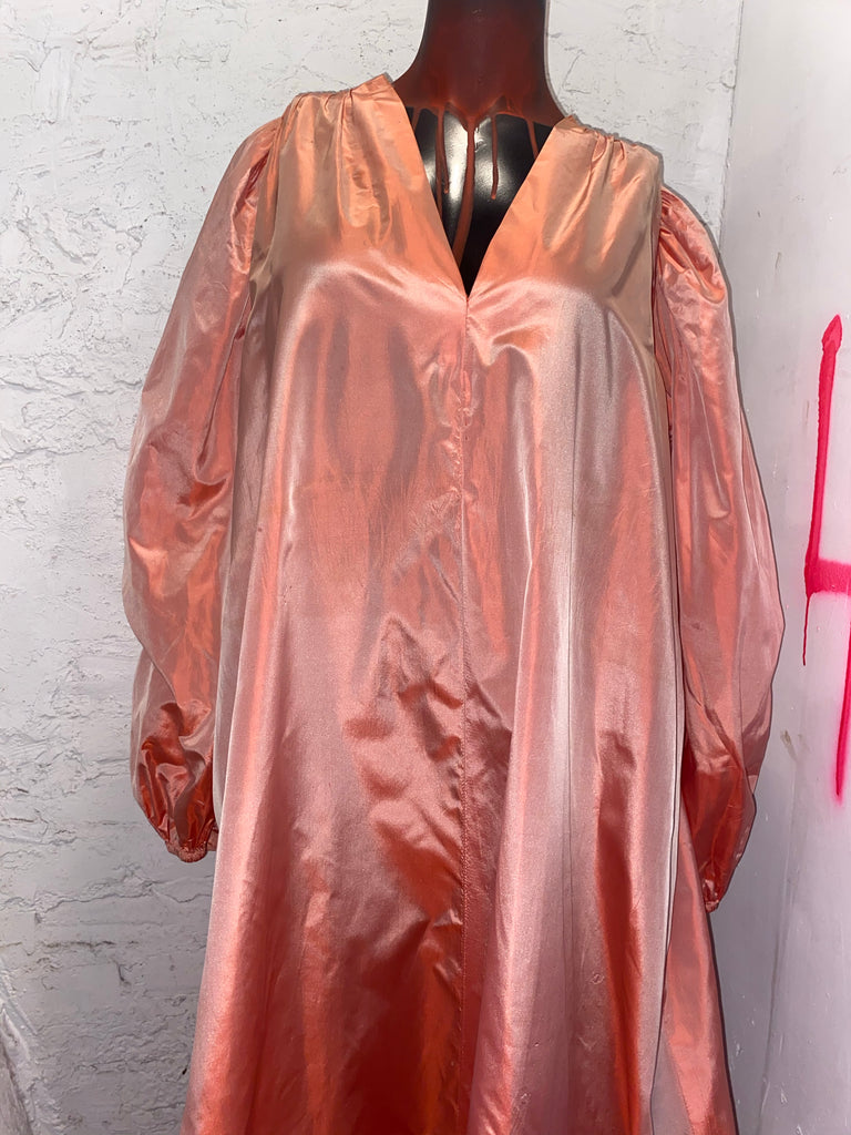 SAINT LAURENT VINTAGE PEACH SILK CAFTAN