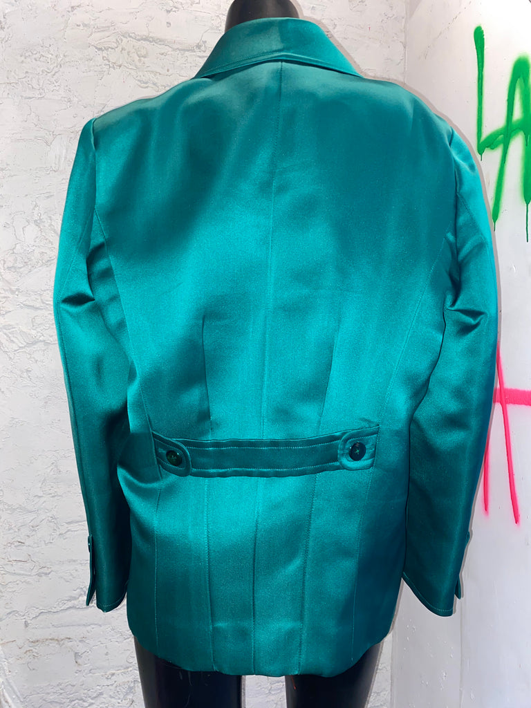 CHANEL VINTAGE EMERALD SILK COAT