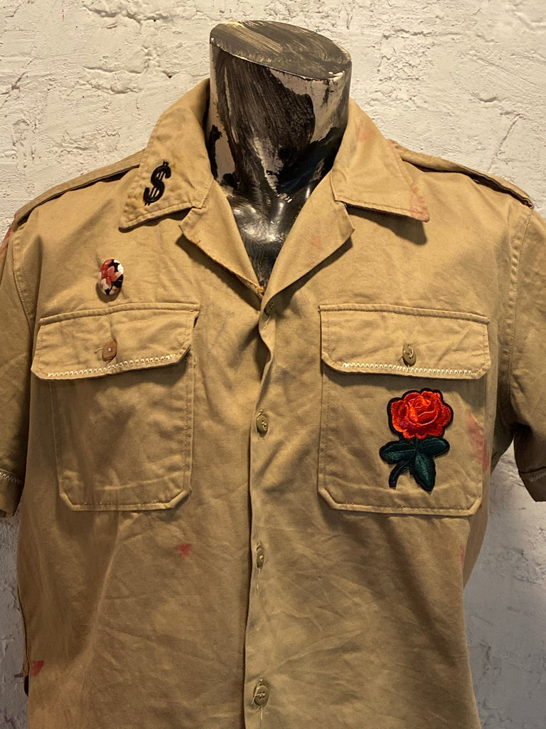 ROSE PAINT KHAKI BUTTON UP