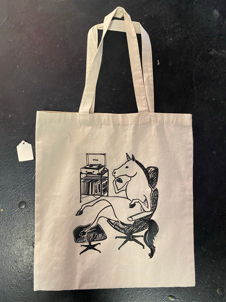 UNICORN PLAYING RECORDS TOTE BAG
