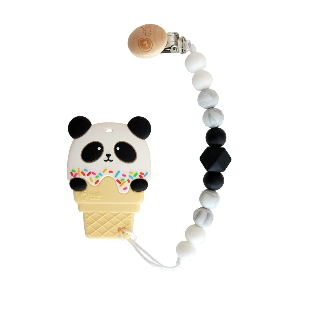 Eggie Panda Teether with Clip - BumbleBox