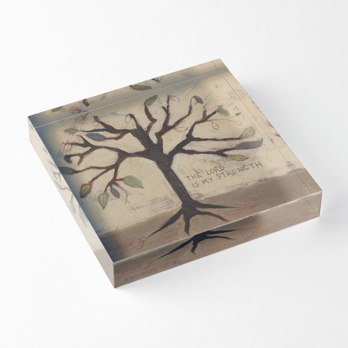 "The Lord is My Strength 1"" Decorative Acrylic Block"