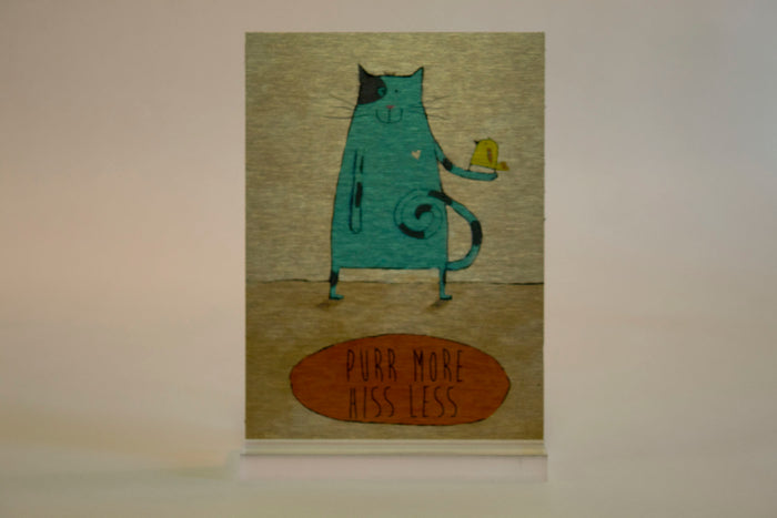 Purr More Hiss Less- 5x7 Aluminum Plaque w/stand