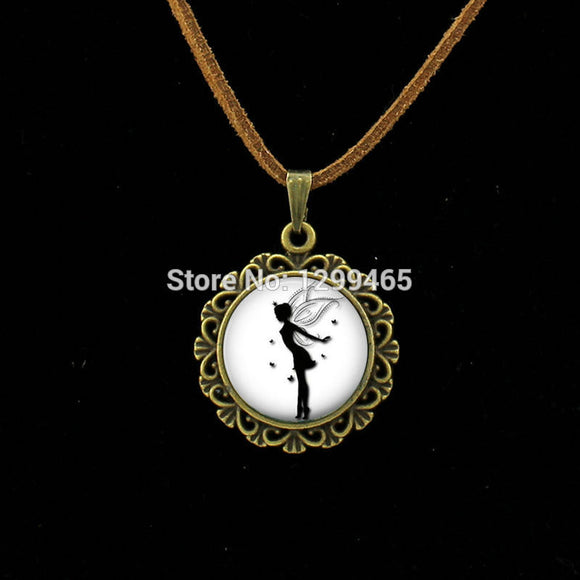 Glass dome fairy pendant necklace posh n play glass dome fairy pendant necklace aloadofball Image collections