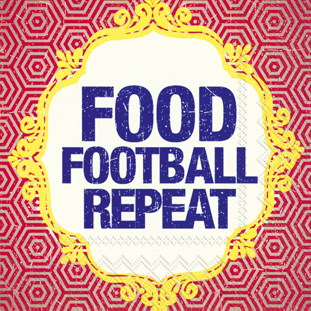 FOOD FOOTBALL REPEAT COCKTAIL NAPKINS