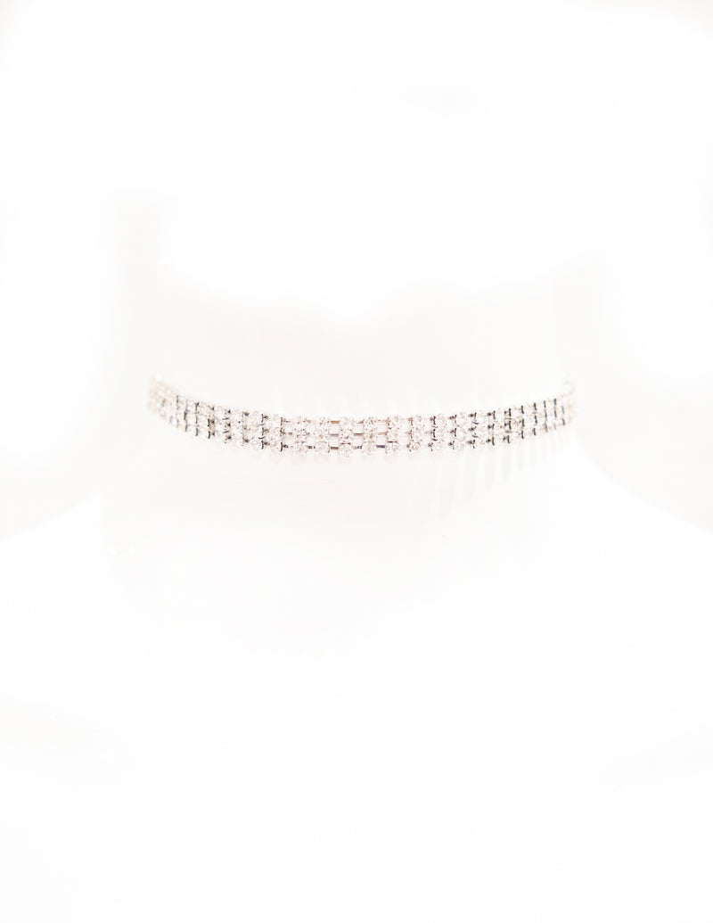 Triple Row Crystal Choker - Silver