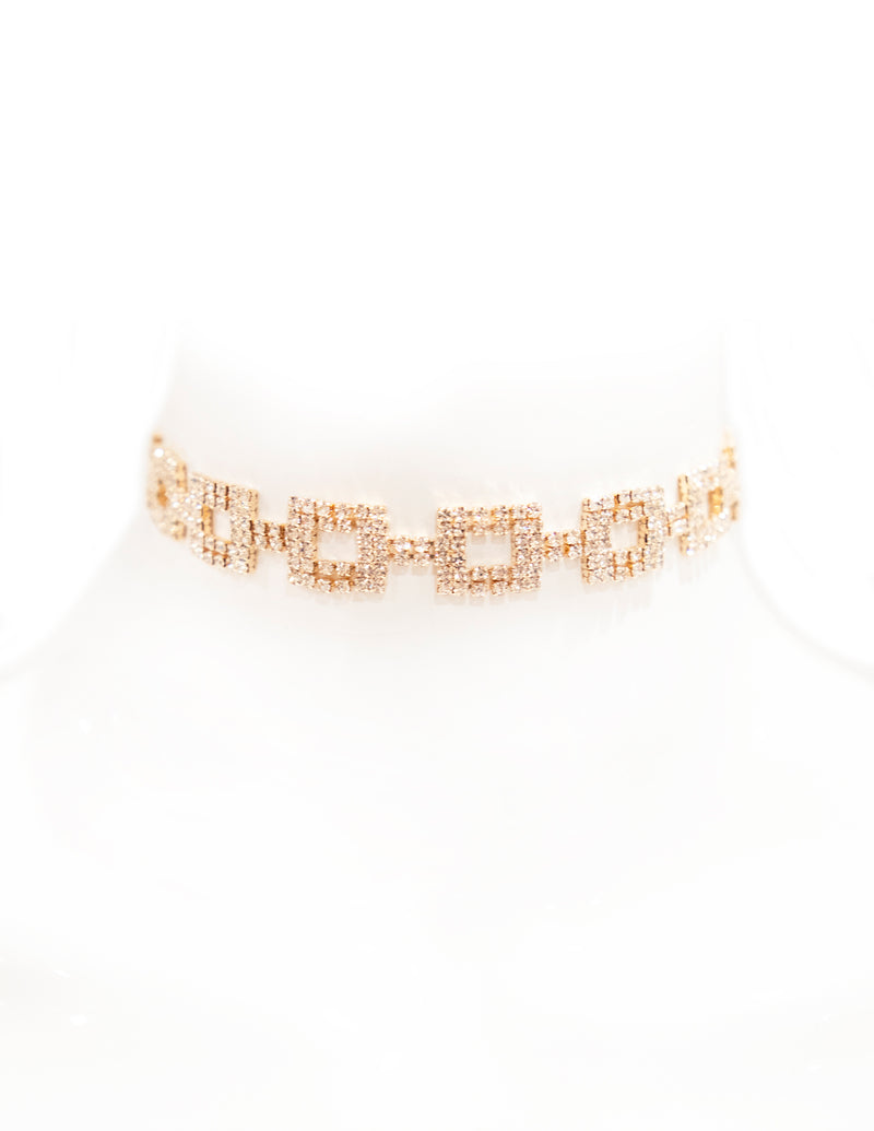 Crystal Square Chain Choker - Gold