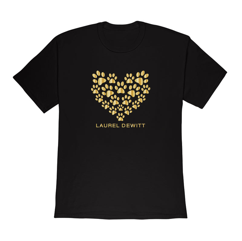 Laurel DeWitt Black with Gold Print Unisex T-Shirt