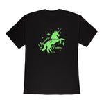 Laurel DeWitt Black with Green Print Unisex T-Shirt