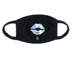 KIDS Laurel DeWitt Black with Silver Holographic Print Graphic Mask