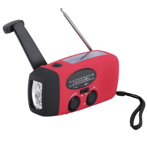New Protable Solar Radio Hand Crank Self Powered Phone Charger 3 LED Flashlight AM/FM/WB Radio Waterproof Emergency Survival Red - Save Money Buy Direct