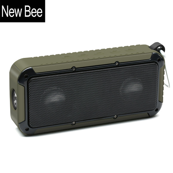 New Bee Outdoor Portable Waterproof Wireless Bluetooth Speaker Bike Soundbar with Microphone NFC Bicycle Mount LED Flashlight