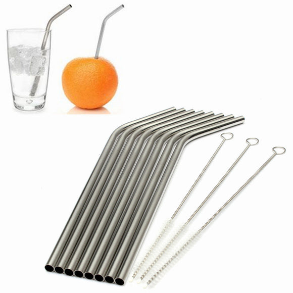 Eco Friendly 8Pcs Stainless Steel Metal Drinking Straw Reusable Straws + 3 Cleaner Brush Set Bar Accessories #81351