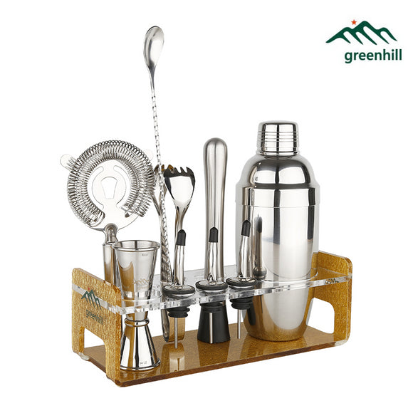 Greenhill Premium Bar Tool Set / 10 Pieces Barware Cocktail Shaker Kit (18/8), Muddler, Jigger, Spoon, Pourer, Ice tong & Stand
