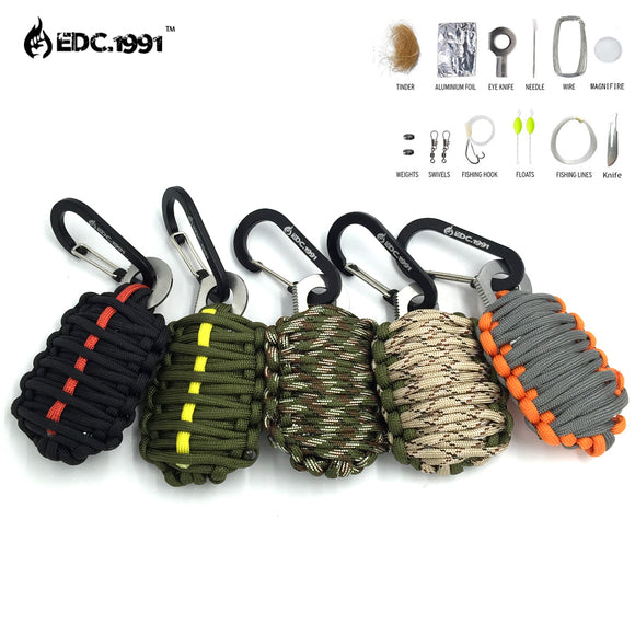 EDC.1991 NEW EDC GEAR Carabiner Grenade 550 Paracord Outdoor camping tools Survival Kit Fishing Kit  and Sharp Eye Knife