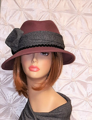 Wool Felt Mauve Color Fedora Hat