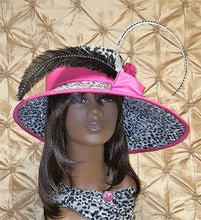 Leopard Print Fabric Covered Wide Brim  Ladies Hat.