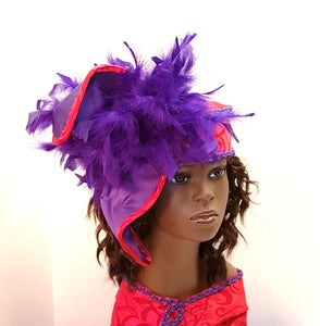 Red and Purple Crown Fabric Hat for all year round.