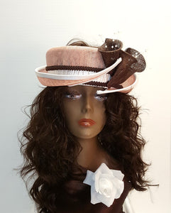 Sinamay Summer Hat With Open Top Crown and Split Brim