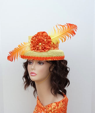 yellow and Orange Ladies Sinamay Cocktail Hat