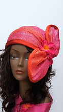 Orange and Fuchsia Head Wrap, Cloche, Crown, spring/summer ladies hat