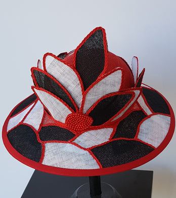 Red, white, and black Stain Glass Look, Sinamay Fashion Hat