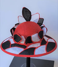 Red, white, and black Stain Glass Look Ladies Fashion hat