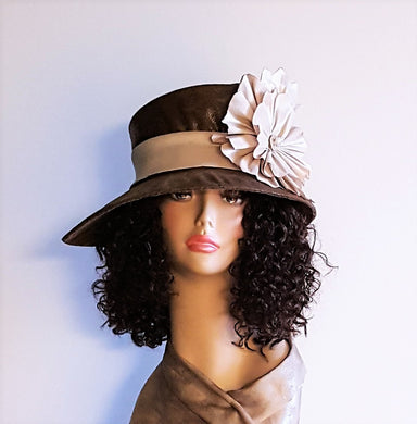 Brown Faux  Leather Hat  with pointed brim women head size  22 1/2