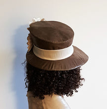 Brown Faux  Leather Hat  with pointed brim women