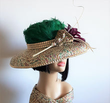 Multi Color Feathered/Fabric Sinamay Sexy Chapeau.