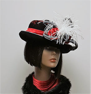 Black and Red Velvet Winter Hat