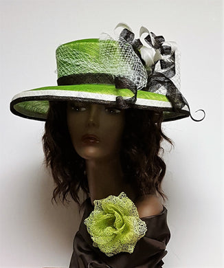 Lime and Brown Spring Hat