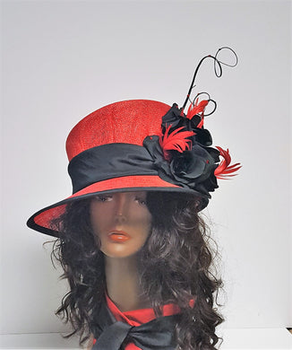Red and Black Sinamay Spring Hat