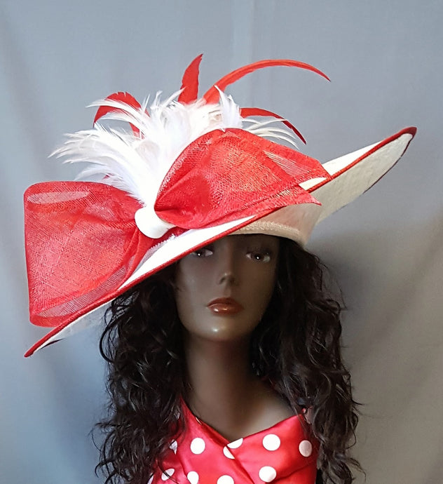 Red and White Large Brim Sinamay Hat