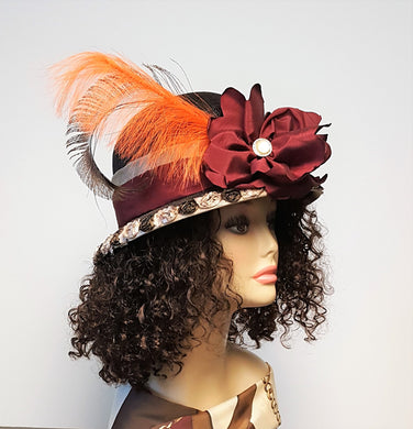 Brown Sinamay Cloche Hat