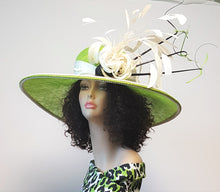 Chartreruse Wide Brim Sinamay Derby Fashionable Hat