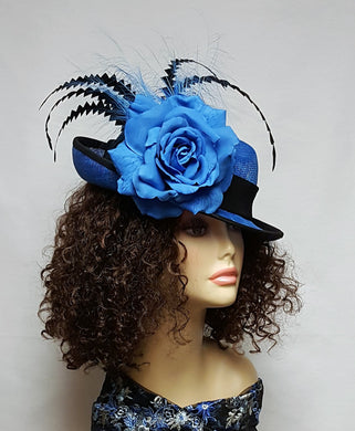Royal Blue and Black Sinamay Ladies Hat